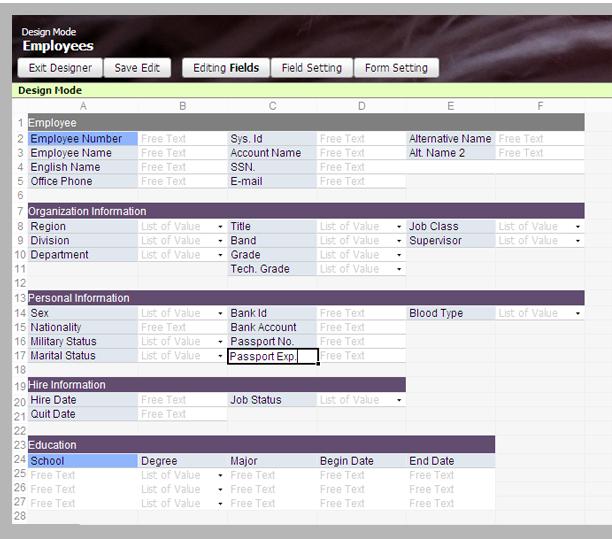 Java-based spreadsheet style online database builder (Blatant