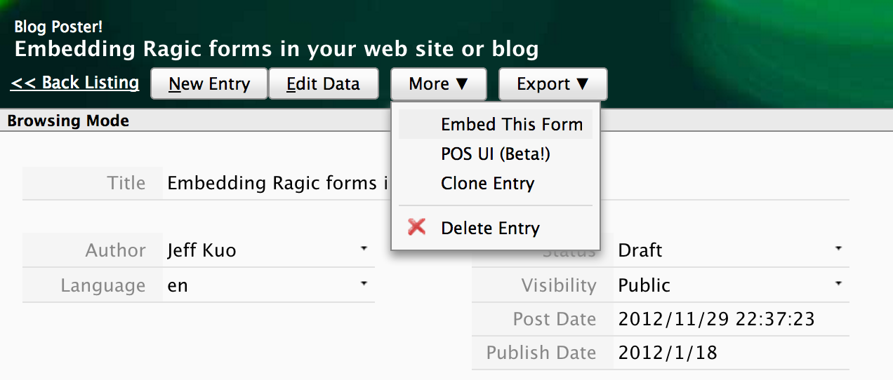 Embedding Ragic forms in your web site or blog Icon